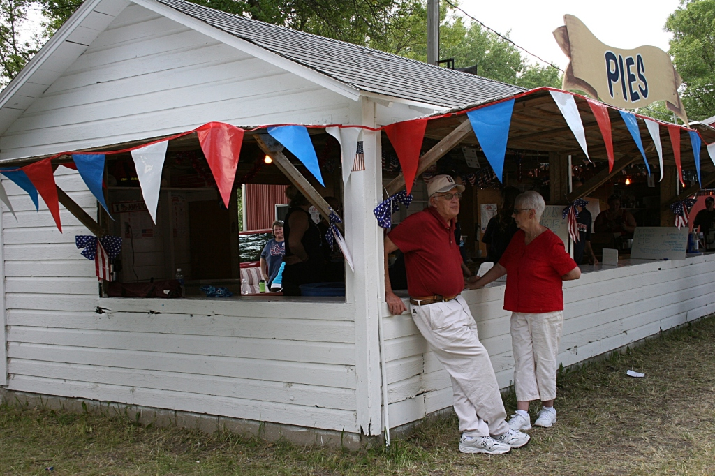 Homemade pies and ice cream are served from the pie building.