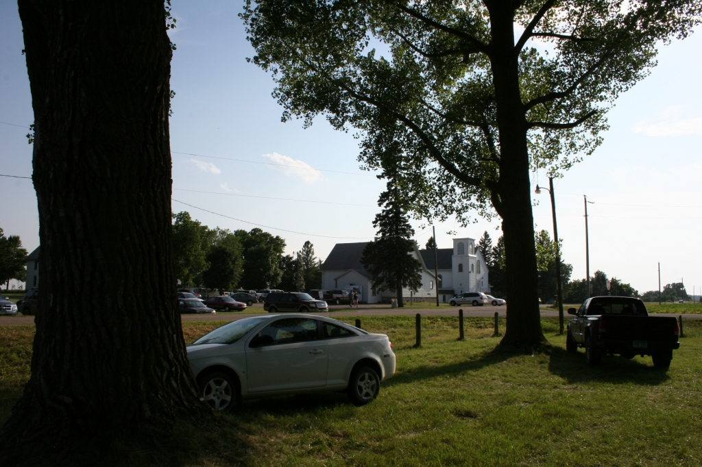 Trinity Lutheran Church and School sit across the road from the picnic grounds.