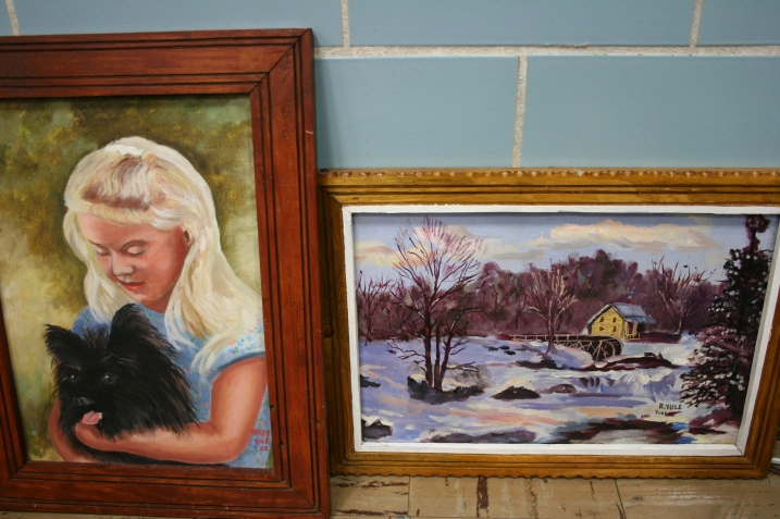 """Puppy Love"" and ""Winter Solitude"" by Rhody Yule, appraised and priced at $395 and $375."