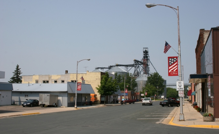 A snapshot of Hayfield's downtown business district.