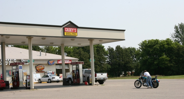 This biker ran out of gas and pushed his motorcycle up to the pumps at Caseys in Hayfield, just off Minnesota Highway 56.