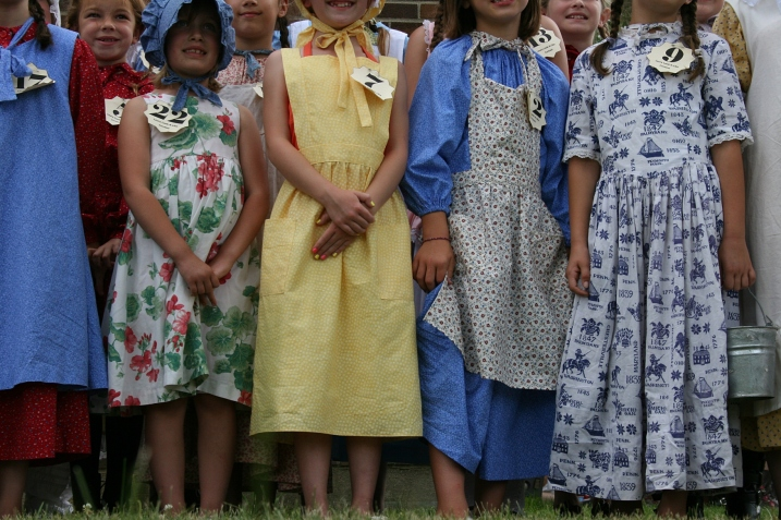 The prairie attire of girls entered in the Laura Look-A-Like Contest in Walnut Grove.