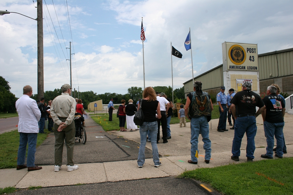 Folks begin to gather at the FrontLine Honors Ceremony at Faribault American Legion Post 43. This Sunday marked the largest attendance since the event began following 9/11.