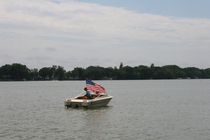 This boat was among two arriving for the 2 p.m. memorial dedication ceremony.