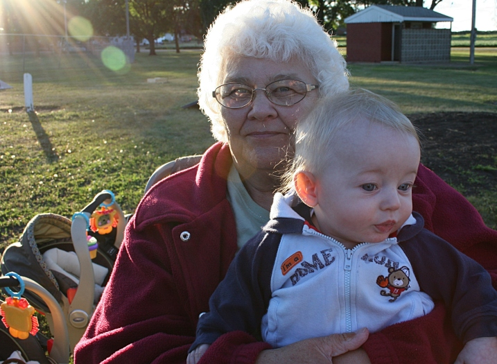 My Aunt Jeanette holds one of her newest great grandsons, who traveled from near Milwaukee with his parents and twin brother to attend the reunion. I'm guessing this is 5-month-old Landon.