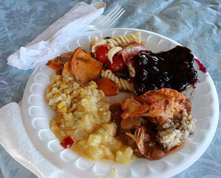My first plate of food. I made sure to grab a piece of the blueberry dessert, which my Aunt Elaine brings each year. Wait too long and you miss out on a piece.