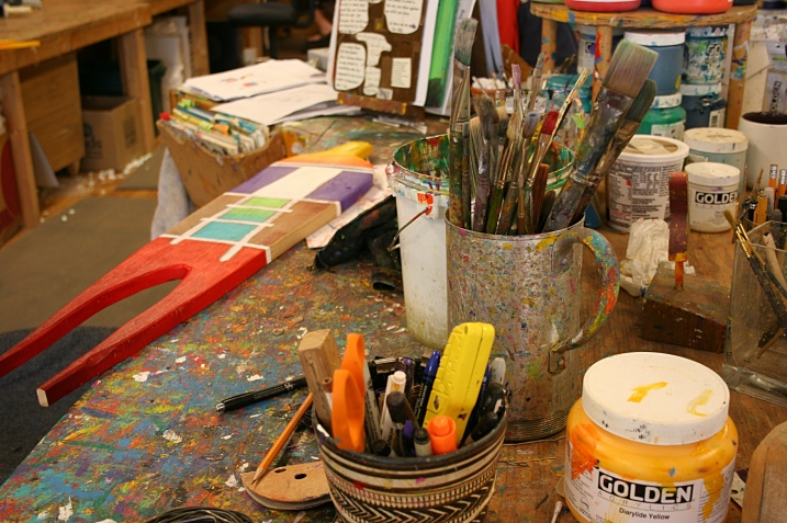 A creative paint station.