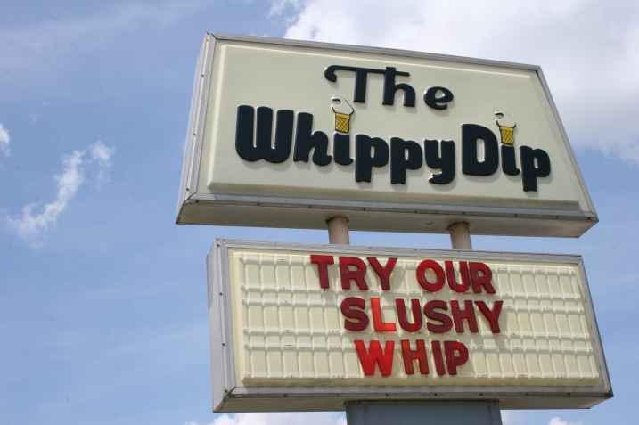 The Whippy Dip sign close-up