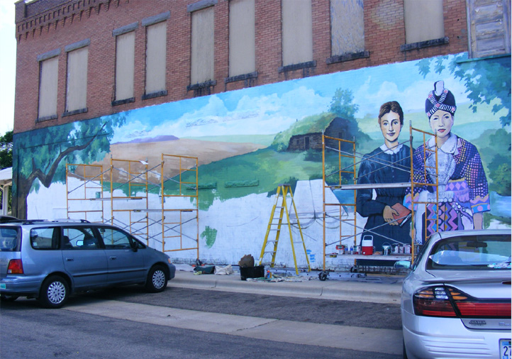The mural in progress. Photo courtesy of Greg Wimmer.
