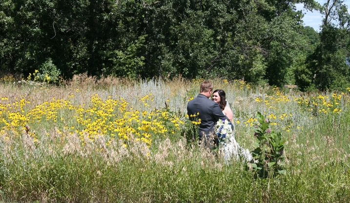 Just inside the park entry, I spotted this couple getting wedding photos taken among the prairie grasses and wildflowers.