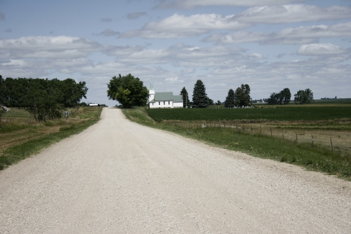 We followed this gravel road around the park and past a country church in the distance.
