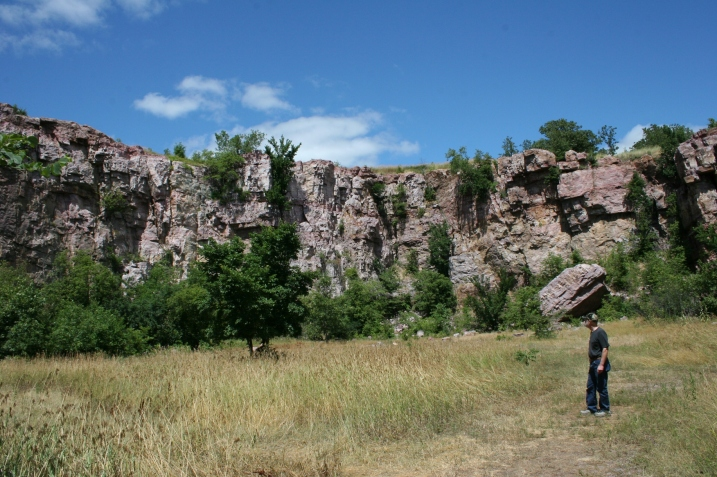 My husband inside the portion of the park where rock was once quarried.
