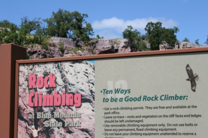 No rock climbing for us, but if you're a rock climber, Blue Mounds allows this sport.