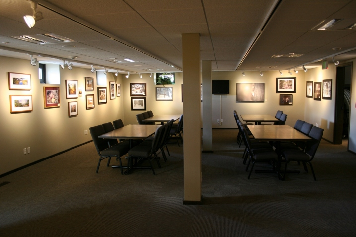 The lower level gallery, also a conference space.