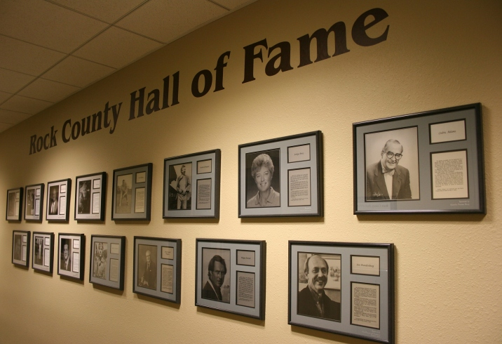 Brandenburg is among natives honored on a lower level hallway Rock County Hall of Fame. He's on the lower right.