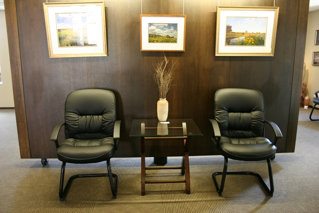 The first floor of the gallery, which doubles as the Luverne Chamber of Commerce office, is artfully and comfortably decorated.