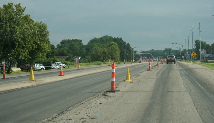 Road construction on Minnesota Highway 21 in Faribault.