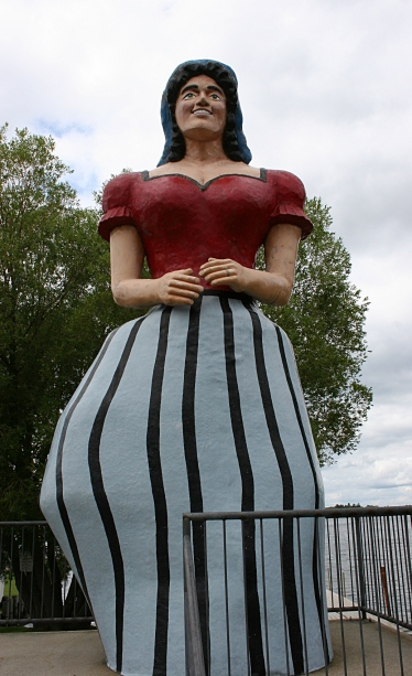 Paul Bunyan's sweetheart, Lucette, stands next to the library along Birch Lake.