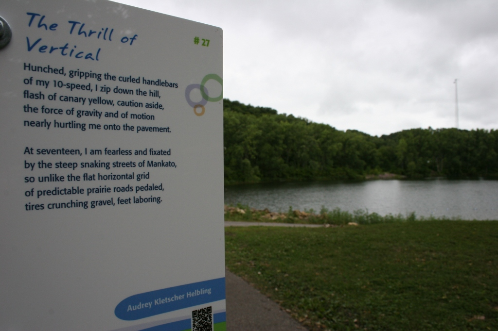 """The Thrill of Vertical,"" located next to Hiniker Pond."