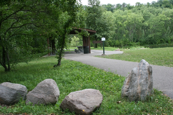 The poems are posted in locations like this, near the shelter house in Hiniker Pond Park. the unobtrusive signs are about the size of a standard sheet of paper.