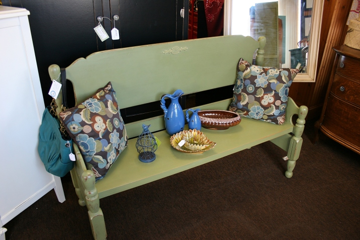 This bench, repurposed from a bed, sells for $215.