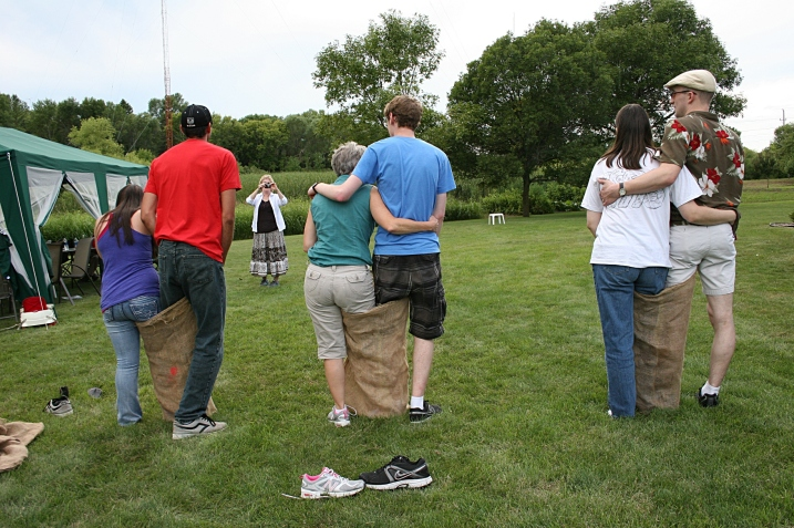 Husband and wife team, right; my son and his godmother, middle; and niece and nephew-in-law line up for a three-legged race.
