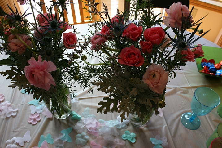 My floral designer sister Lanae created these bouquets, which include flowers that will be among the wedding flowers.