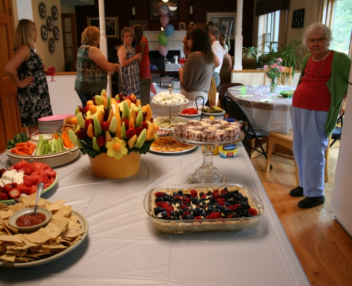The delicious food, especially the dessert on the right. That's my 81-year-old mom to the right. She traveled several hours to attend her granddaughter's shower.