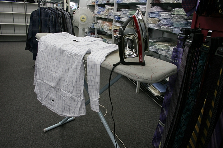 Meandering through the store, I found this iron set up in the rear. Another example of customer service.