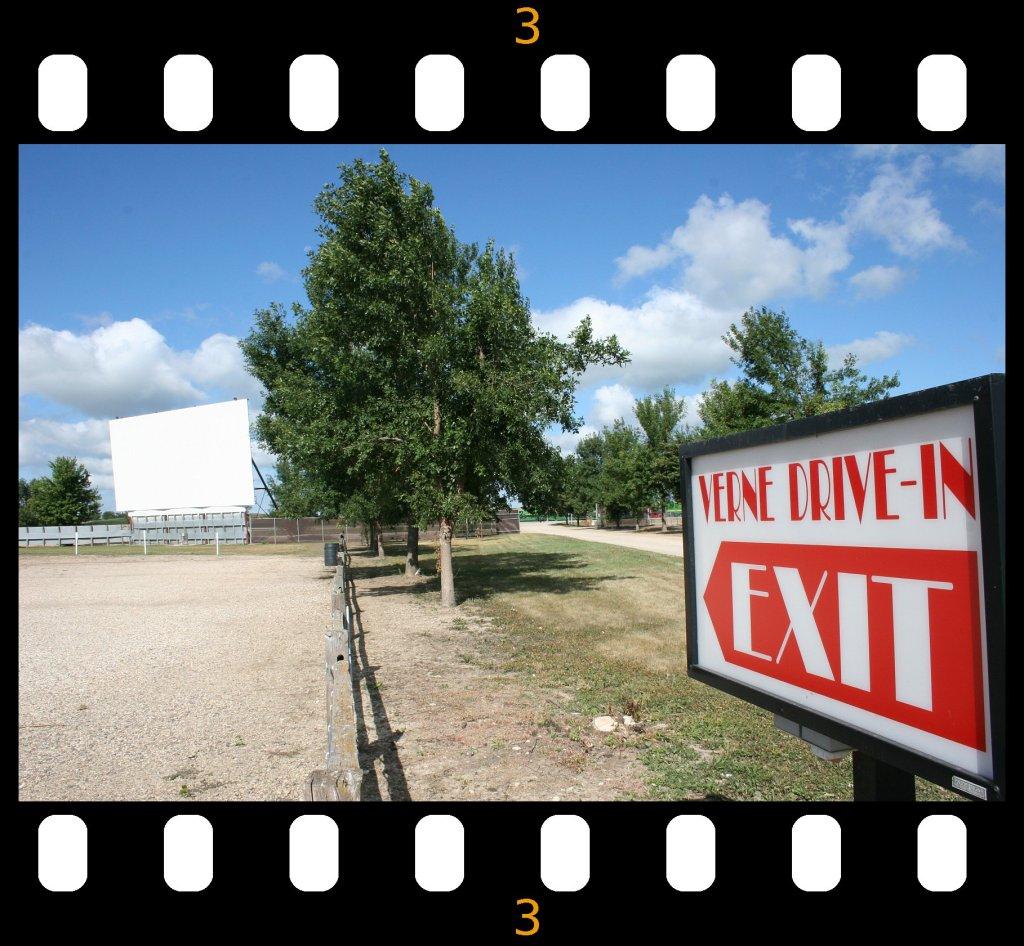 Verne Drive-In exit sign film strip