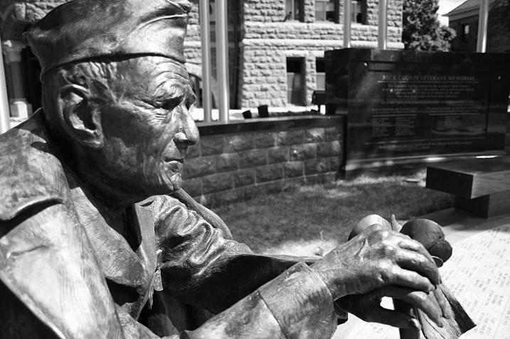 The memorable face of a veteran at the outdoor memorial.