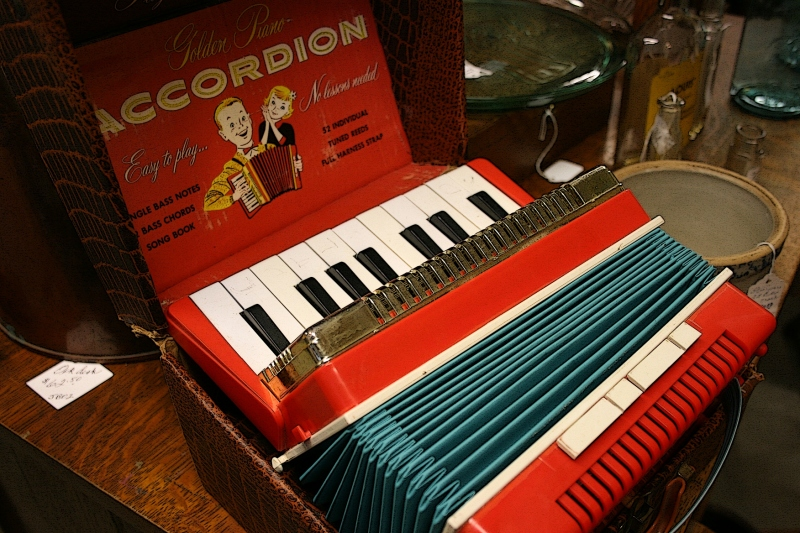 I nearly flipped when I saw this toy accordion, just like one I had as a child. I loved my accordion and it is the only musical instrument I've ever played.