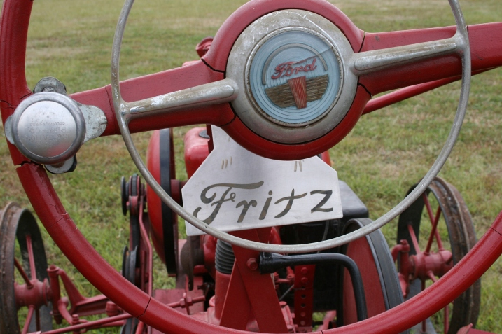 An old steering wheel.