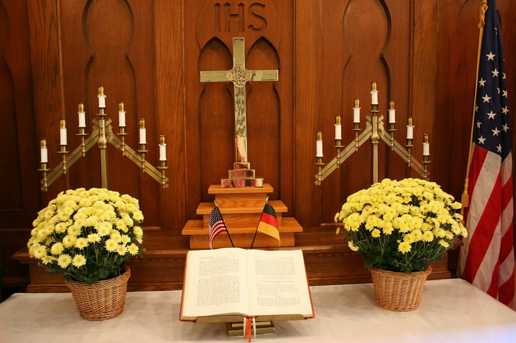 The beautifully-appointed altar, complete with German and American flags.