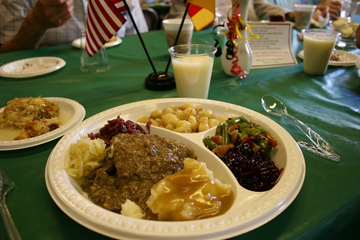 My plate, filled with German foods at St. John's annual Germanfest.