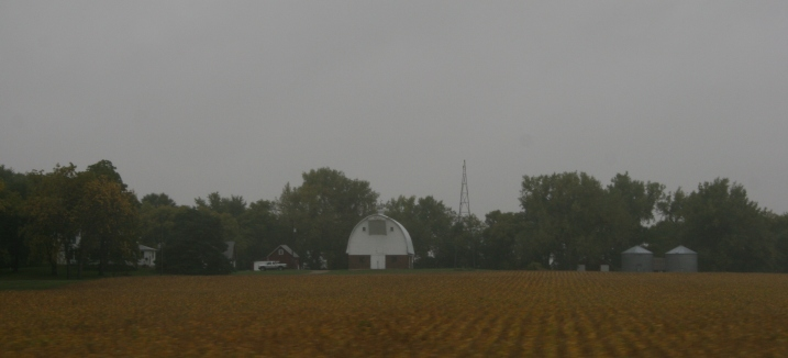Grey skies and rain create a moody scene along U.S. Highway 14 between Sleepy Eye and Lamberton.