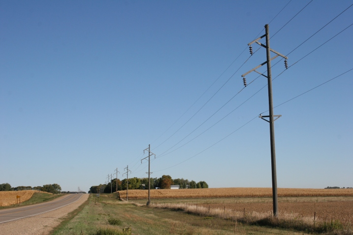 The skies have cleared along Redwood County Road 6 north of Lamberton where corn fields await harvest.