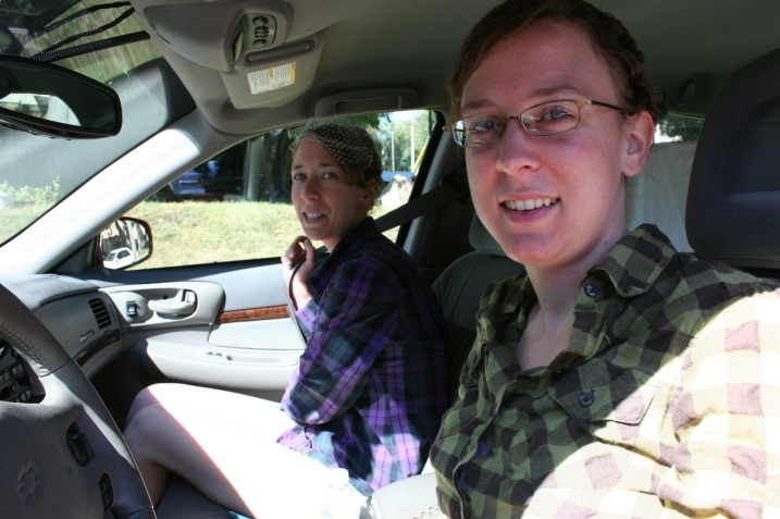 The sisters buckle up and pose for one last photo before driving to church.