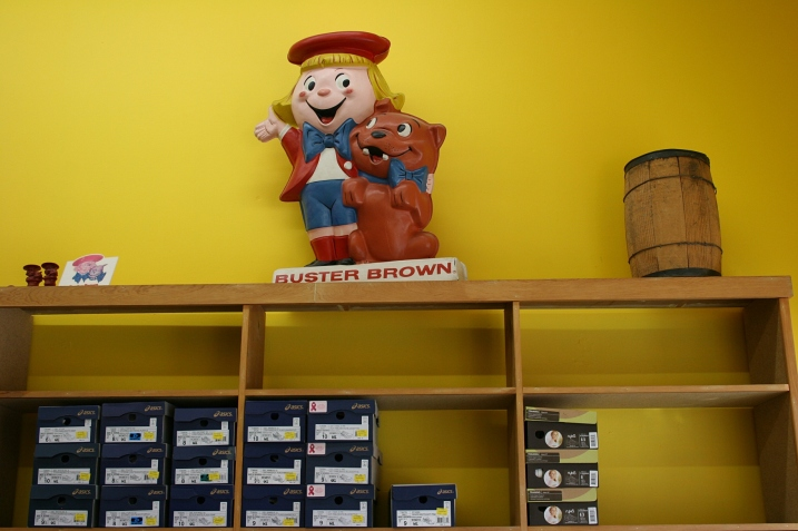 On display: several items of Buster Brown memorabilia.