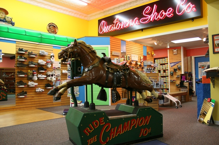 Tom Brick purchased this mechanical horse for Owatonna Shoe in 2010. It's original history in Owatonna stretches back to Duffy's Fairway Food Store, where it entertained generations of children from 1946-1990.