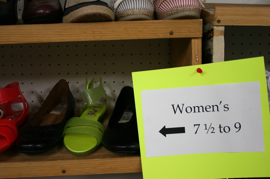 Colorful shoes, colorful signs.