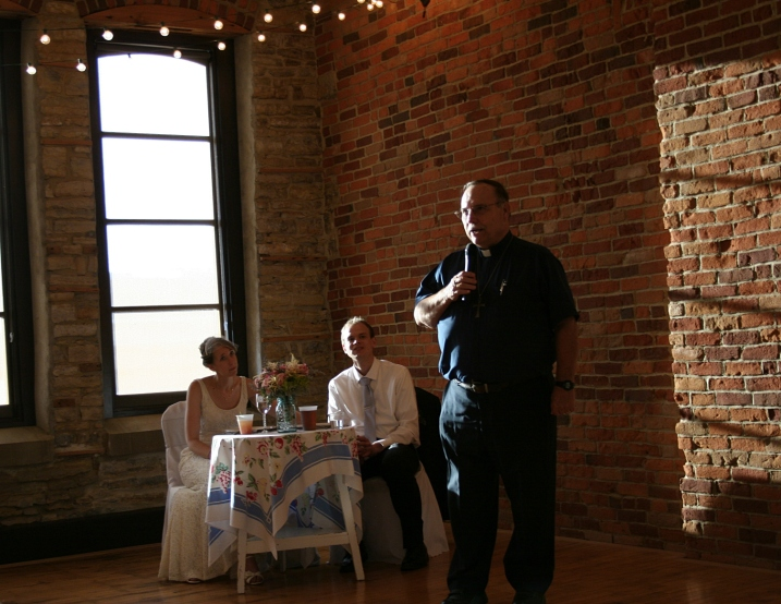 Just look at how the natural light plays on the brick walls as the Rev. Robert Snyder, retired pastor of Trinity Lutheran Church, leads the group in prayer.
