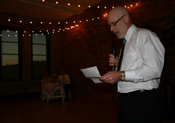 The father of the bride, my husband Randy, starts his speech. He asked me to help write the speech since I am, um, yes, a writer. It was a hit with a mix of memories, humor and seriousness.
