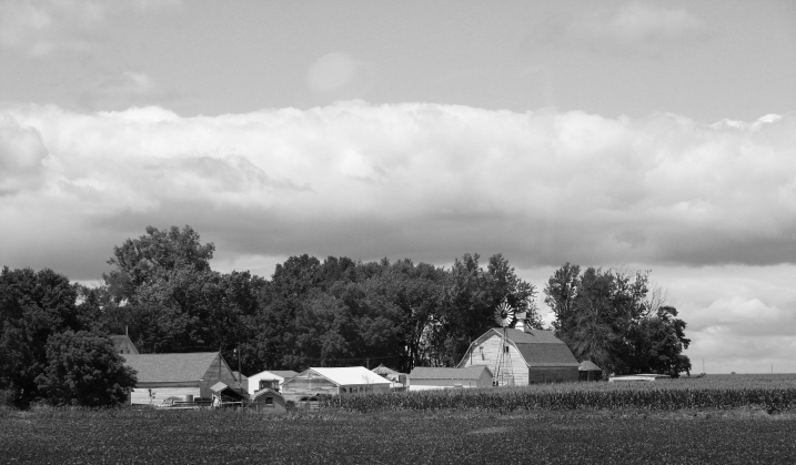 Rural, barn with windmill