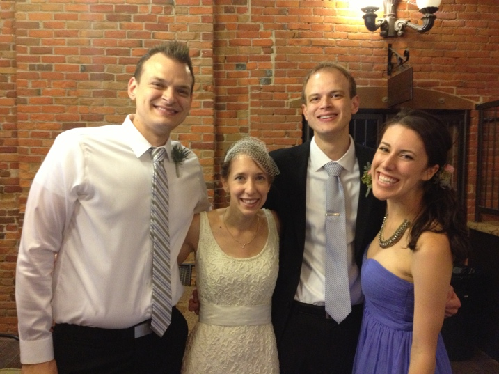 Meet the Schmidts: Jon Eric, the groom's brother and best man, left; the bride, Amber; the groom, Marc; and Jon Eric's wife, Stephani. Photo courtesy of Jon Eric Schmidt.