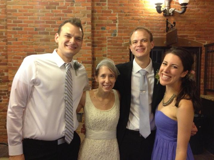 Meet the Schmidts: Jon Eric, the groom's brother and best man, left; the bride, Amber; the groom, Marc; and Jon Eric's wife, Stephani. Photo courtesy of Jon Eric Schmidt.
