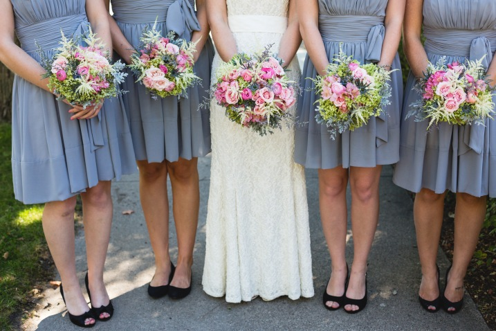 The bride and her attendants with the stunning bouquets created by my floral designer sister, Lanae Feser of Waseca Floral. Photo by and courtesy of Rochelle Louise Photography.