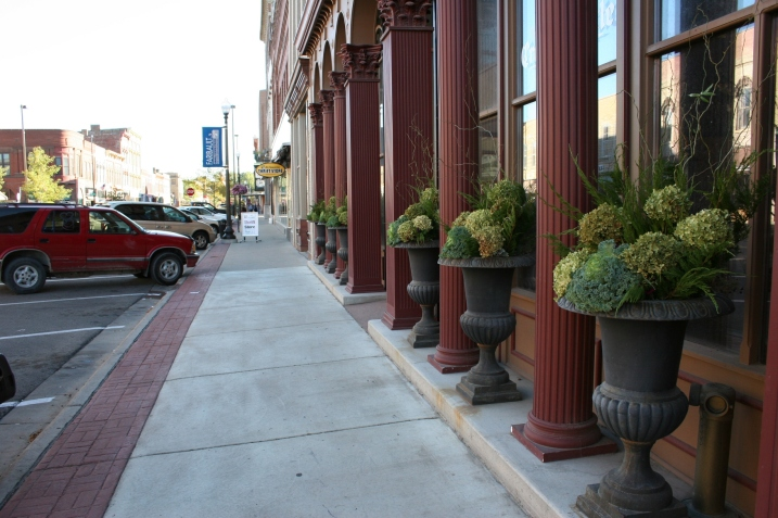 The floral designs my sister created outside the Bachrach Building and still in place.