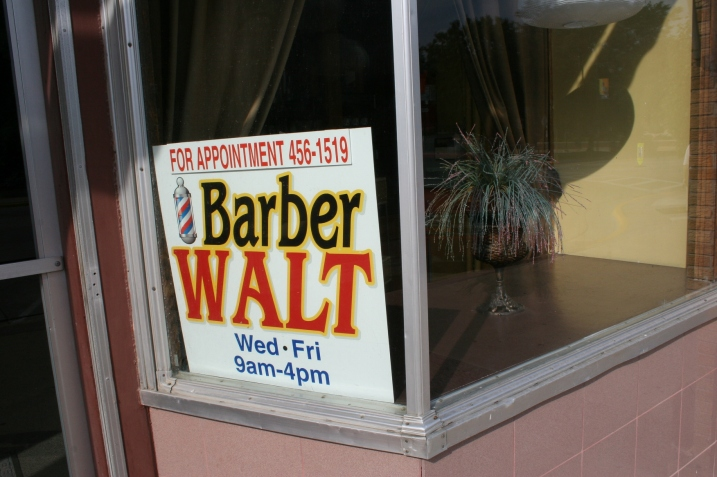 Over in Owatonna in the afternoon, I shot this signage in the heart of downtown. Walt the Barber. I expect he could spin a story or ten.