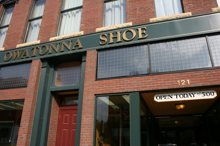 I stopped at family-owned Owatonna Shoe and snapped 40 photos, the best of which I will share in a later post. For now you'll have to settle for this exterior shot.